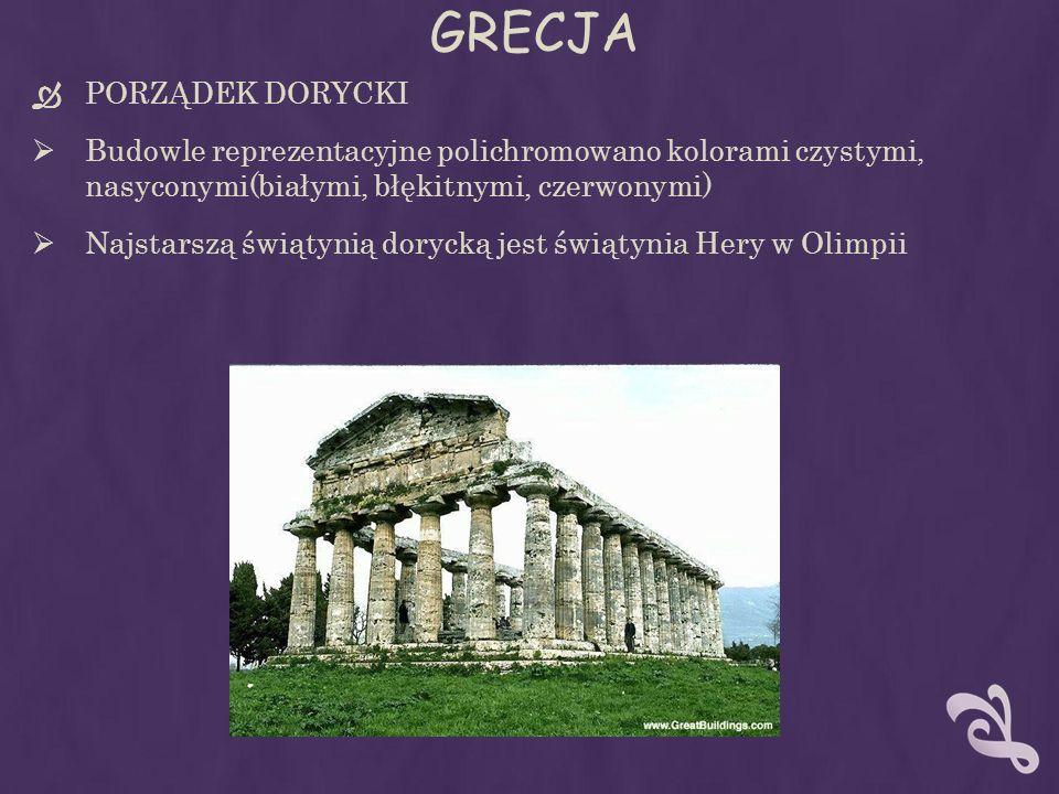 GRECJA PORZĄDEK DORYCKI Budowle reprezentacyjne polichromowano kolorami czystymi, nasyconymi(białymi, błękitnymi, czerwonymi) Najstarszą świątynią dorycką jest świątynia Hery w Olimpii