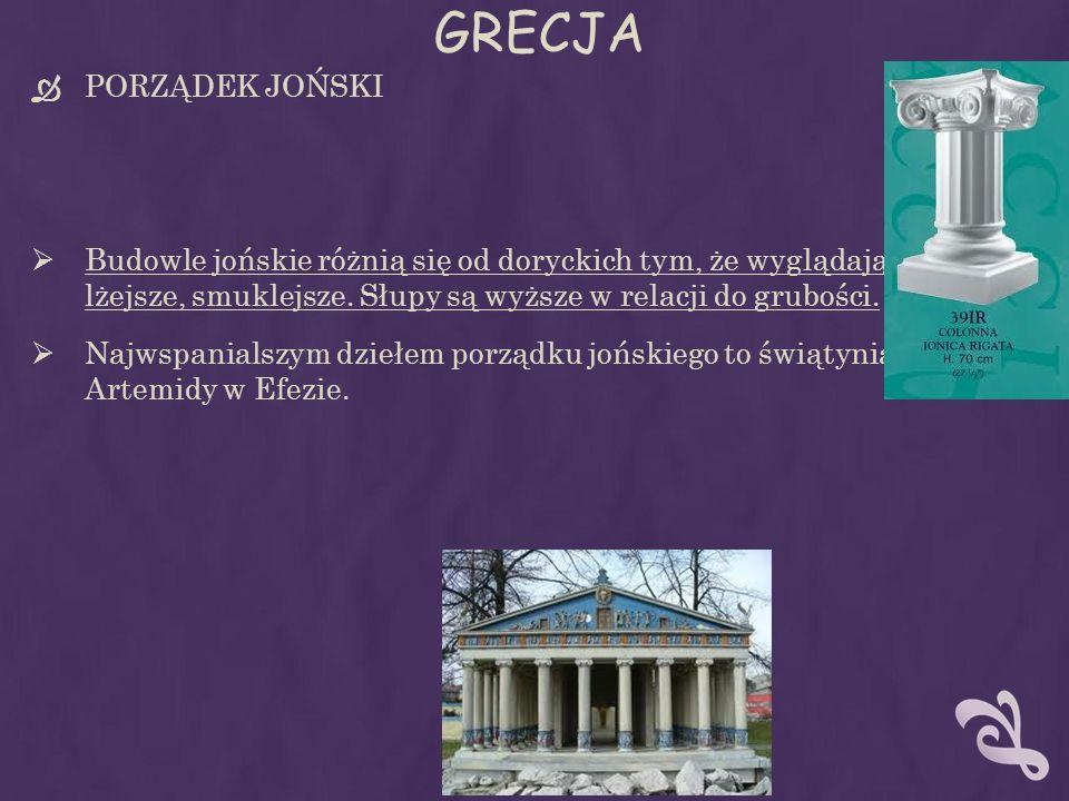 GRECJA PORZĄDEK JOŃSKI Budowle jońskie różnią się od doryckich tym, że wyglądają na lżejsze, smuklejsze.