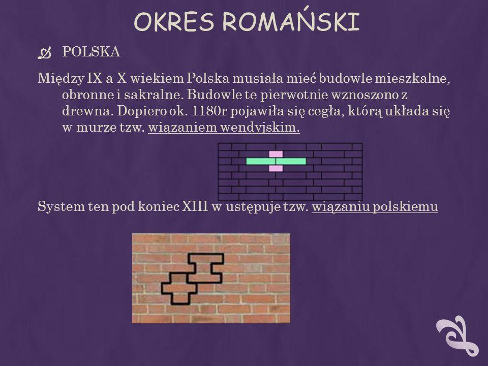 OKRES ROMAŃSKI POLSKA Między IX a X wiekiem Polska musiała mieć budowle mieszkalne, obronne i sakralne. Budowle te pierwotnie wznoszono z drewna. Dopi