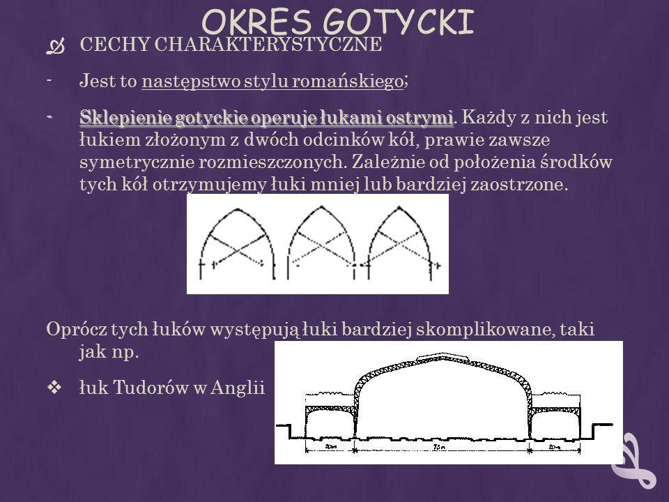 OKRES GOTYCKI CECHY CHARAKTERYSTYCZNE -Jest to następstwo stylu romańskiego; -Sklepienie gotyckie operuje łukami ostrymi -Sklepienie gotyckie operuje