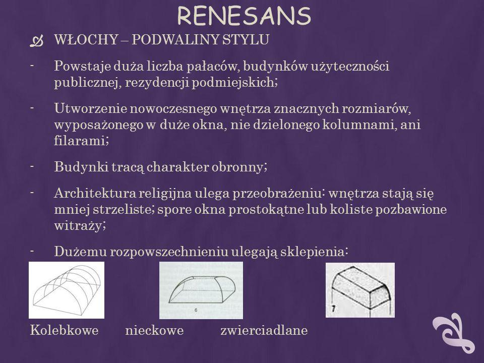RENESANS WŁOCHY – PODWALINY STYLU -Powstaje duża liczba pałaców, budynków użyteczności publicznej, rezydencji podmiejskich; -Utworzenie nowoczesnego wnętrza znacznych rozmiarów, wyposażonego w duże okna, nie dzielonego kolumnami, ani filarami; -Budynki tracą charakter obronny; -Architektura religijna ulega przeobrażeniu: wnętrza stają się mniej strzeliste; spore okna prostokątne lub koliste pozbawione witraży; -Dużemu rozpowszechnieniu ulegają sklepienia: Kolebkowenieckowezwierciadlane