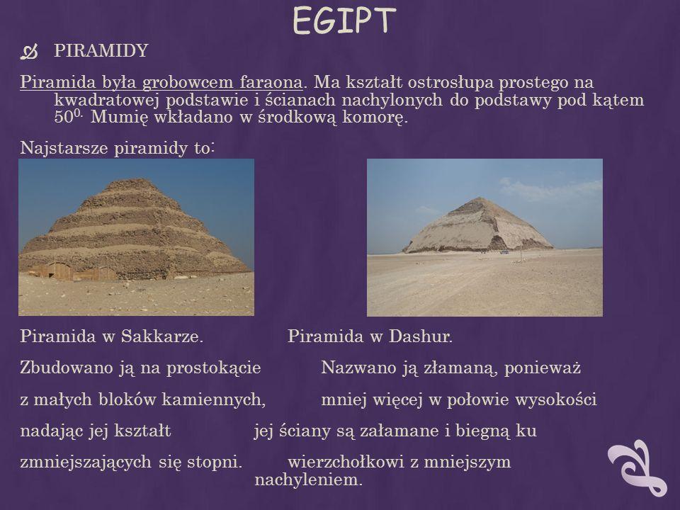 EGIPT PIRAMIDY Piramida była grobowcem faraona. Ma kształt ostrosłupa prostego na kwadratowej podstawie i ścianach nachylonych do podstawy pod kątem 5