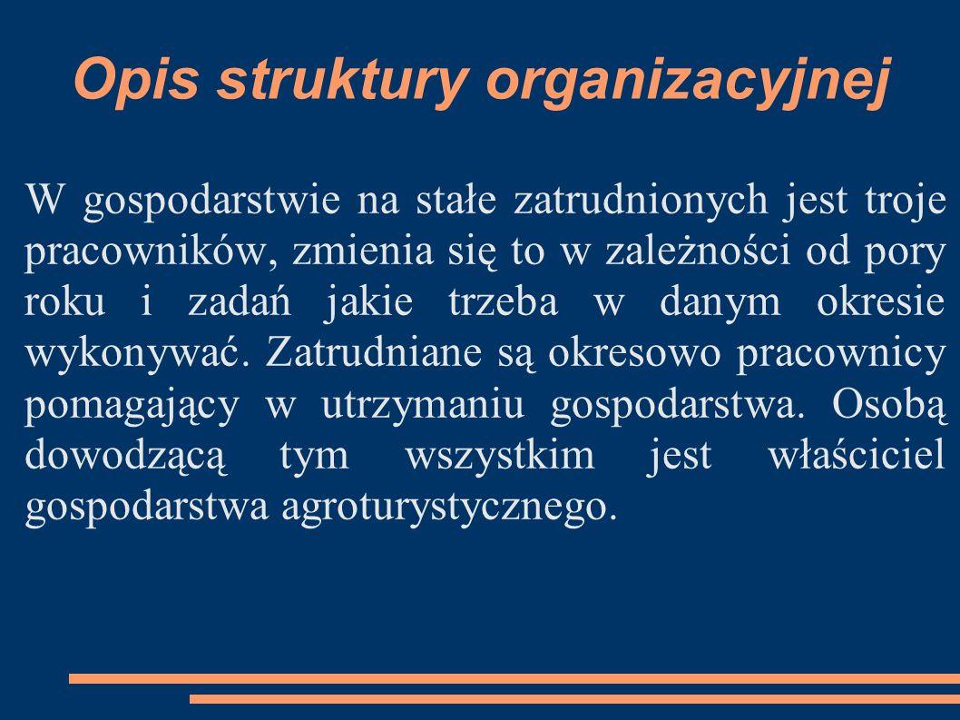 Opis struktury organizacyjnej W gospodarstwie na stałe zatrudnionych jest troje pracowników, zmienia się to w zależności od pory roku i zadań jakie tr