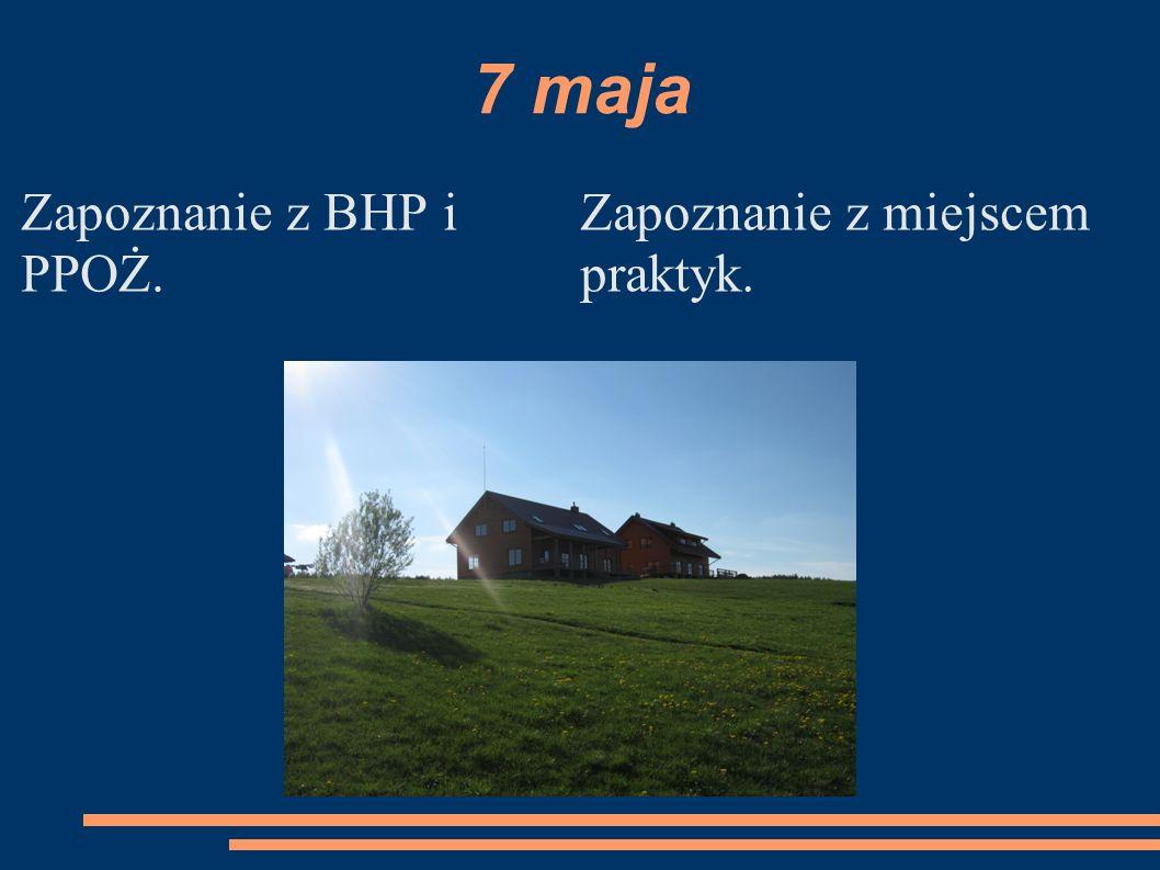 7 maja Zapoznanie z BHP i PPOŻ. Zapoznanie z miejscem praktyk.