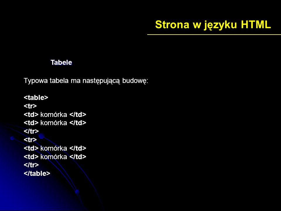 Strona w języku HTML Typowa tabela ma następującą budowę: komórka komórka Tabele