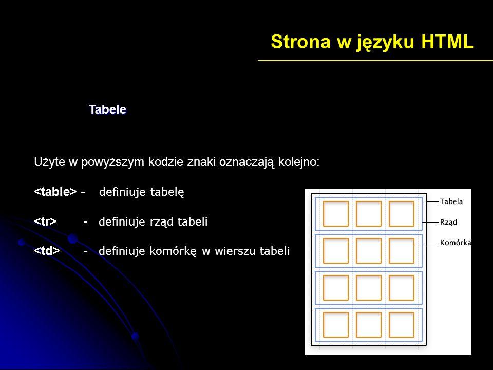 Strona w języku HTML Użyte w powyższym kodzie znaki oznaczają kolejno: - definiuje tabelę - definiuje rząd tabeli - definiuje komórkę w wierszu tabeli