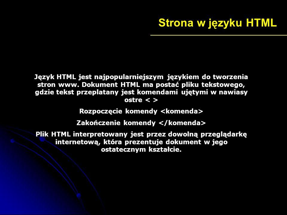 Strona w języku HTML Podstawowa struktura strony Tytuł tworzonej przez nas strony Treść jaką chcemy zamieścić na naszej stronie np.