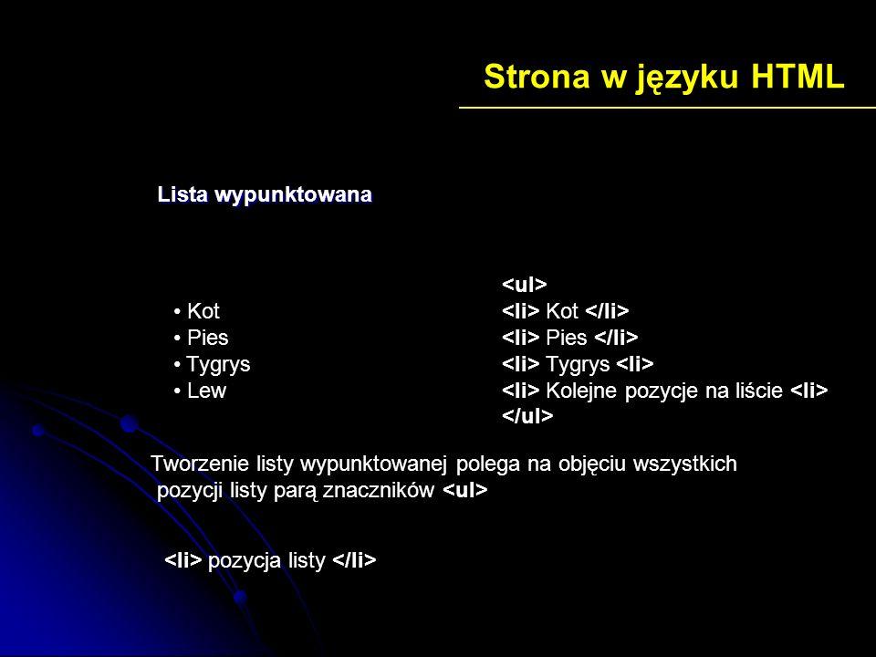 Strona w języku HTML Kot Pies Tygrys Kolejne pozycje na liście Kot Pies Tygrys Lew Lista wypunktowana Tworzenie listy wypunktowanej polega na objęciu