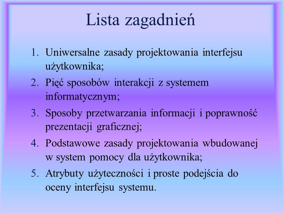 Lista zagadnień 1.Uniwersalne zasady projektowania interfejsu użytkownika; 2.Pięć sposobów interakcji z systemem informatycznym; 3.Sposoby przetwarzan