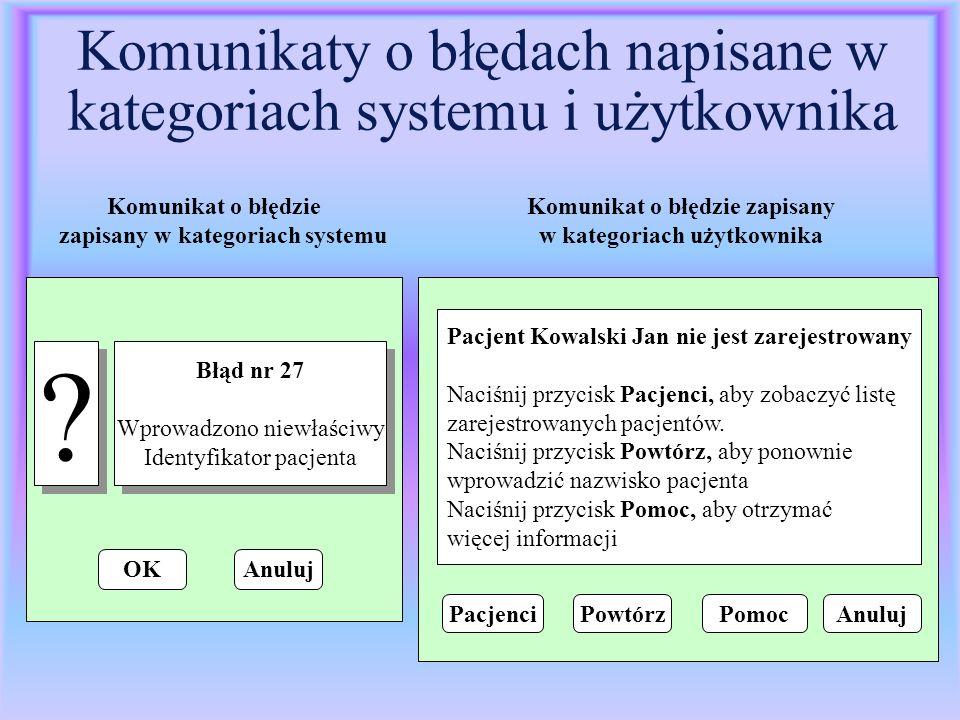 Komunikaty o błędach napisane w kategoriach systemu i użytkownika ? ? Błąd nr 27 Wprowadzono niewłaściwy Identyfikator pacjenta Błąd nr 27 Wprowadzono