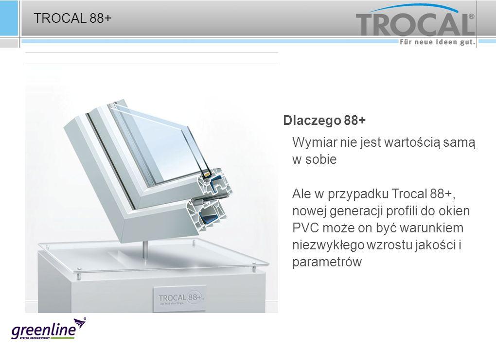 TROCAL 88+ Das Maß aller Dinge Dlaczego 88+ Wymiar nie jest wartością samą w sobie Ale w przypadku Trocal 88+, nowej generacji profili do okien PVC mo
