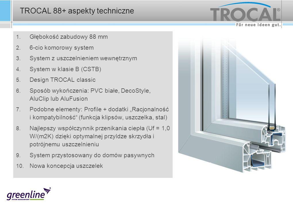 1. Głębokość zabudowy 88 mm 2. 6-cio komorowy system 3. System z uszczelnieniem wewnętrznym 4. System w klasie B (CSTB) 5. Design TROCAL classic 6. Sp