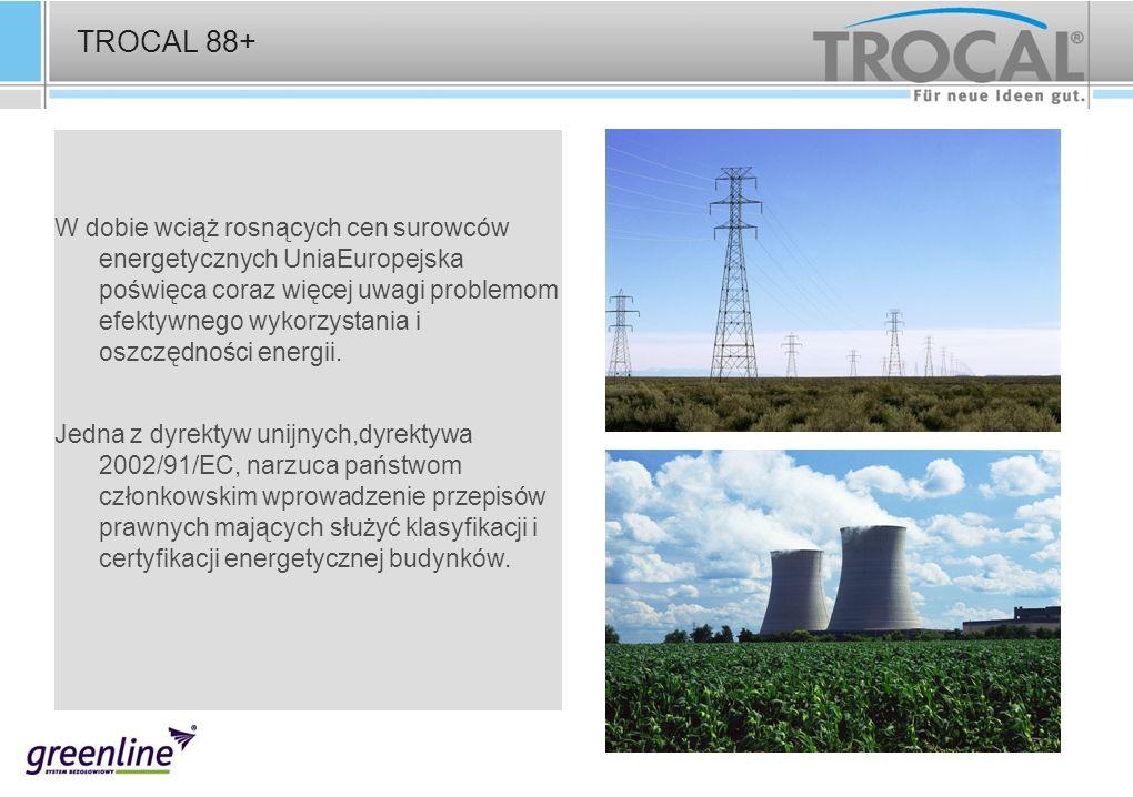 TROCAL 88+ W dobie wciąż rosnących cen surowców energetycznych UniaEuropejska poświęca coraz więcej uwagi problemom efektywnego wykorzystania i oszczę