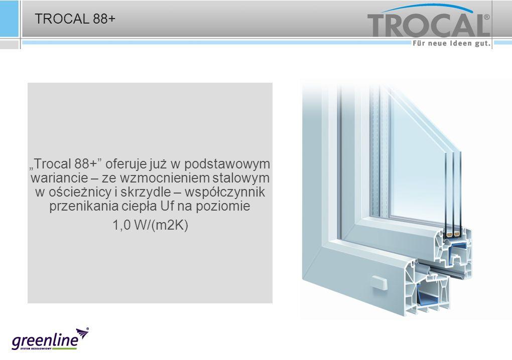 TROCAL 88+ Trocal 88+ oferuje już w podstawowym wariancie – ze wzmocnieniem stalowym w ościeżnicy i skrzydle – współczynnik przenikania ciepła Uf na p