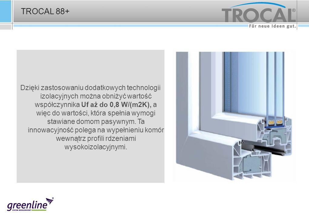 TROCAL 88+ Dzięki zastosowaniu dodatkowych technologii izolacyjnych można obniżyć wartość współczynnika Uf aż do 0,8 W/(m2K), a więc do wartości, któr