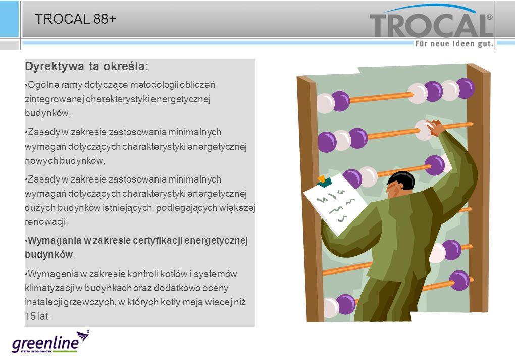 TROCAL 88+ Dyrektywa ta określa: Ogólne ramy dotyczące metodologii obliczeń zintegrowanej charakterystyki energetycznej budynków, Zasady w zakresie za