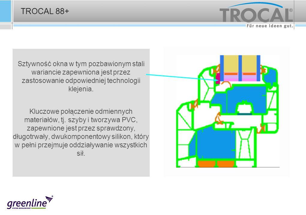 TROCAL 88+ Sztywność okna w tym pozbawionym stali wariancie zapewniona jest przez zastosowanie odpowiedniej technologii klejenia. Kluczowe połączenie