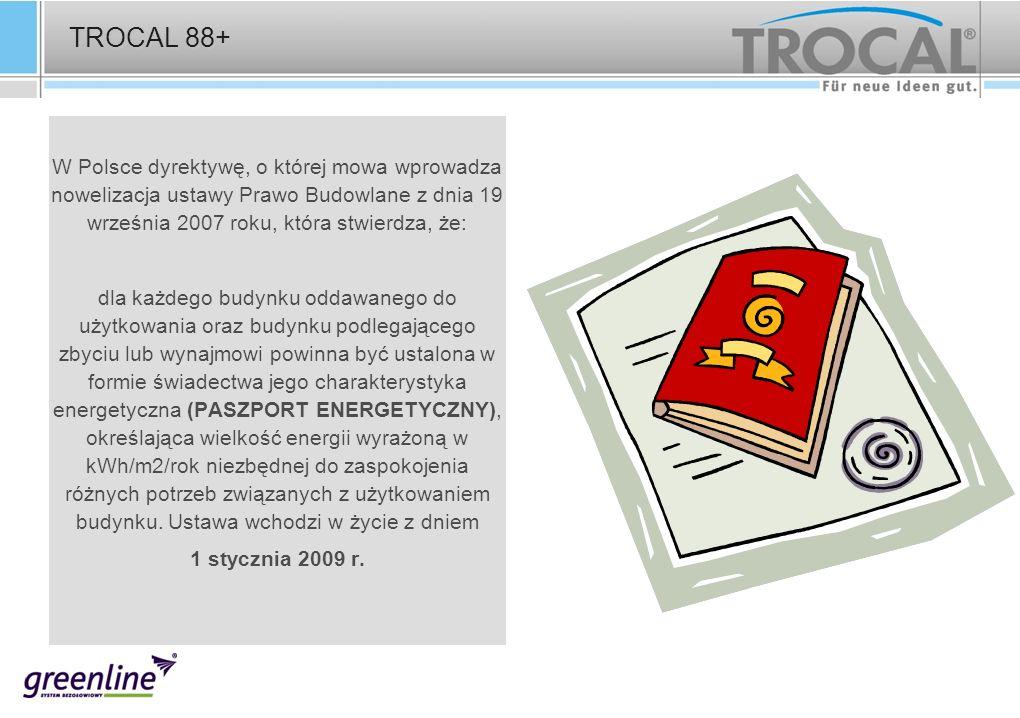 TROCAL 88+ W Polsce dyrektywę, o której mowa wprowadza nowelizacja ustawy Prawo Budowlane z dnia 19 września 2007 roku, która stwierdza, że: dla każde