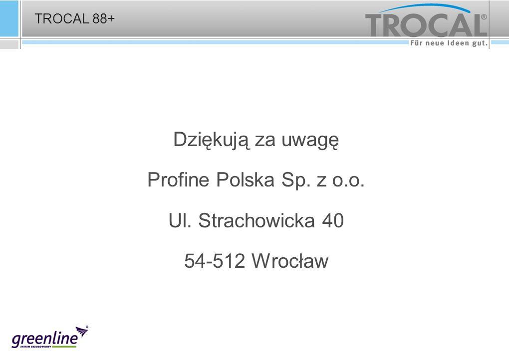 TROCAL 88+ Dziękują za uwagę Profine Polska Sp. z o.o. Ul. Strachowicka 40 54-512 Wrocław