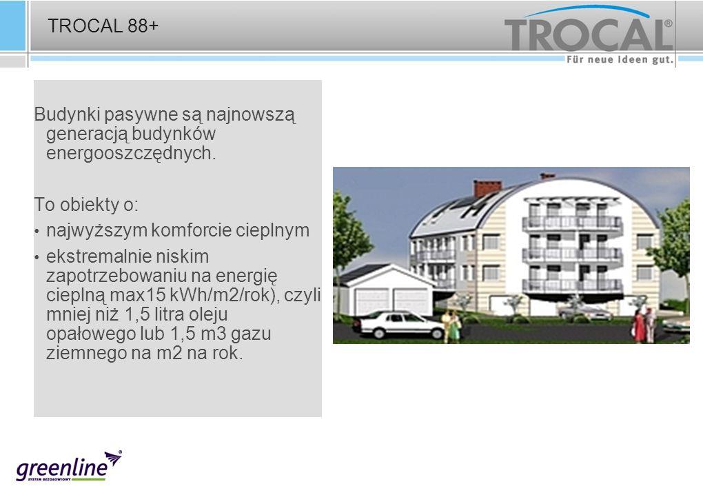 TROCAL 88+ Budynki pasywne są najnowszą generacją budynków energooszczędnych. To obiekty o: najwyższym komforcie cieplnym ekstremalnie niskim zapotrze