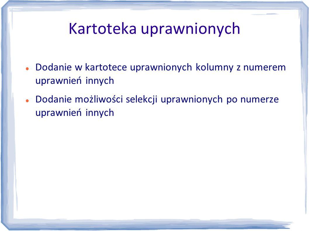 Kartoteka uprawnionych Dodanie w kartotece uprawnionych kolumny z numerem uprawnień innych Dodanie możliwości selekcji uprawnionych po numerze uprawni