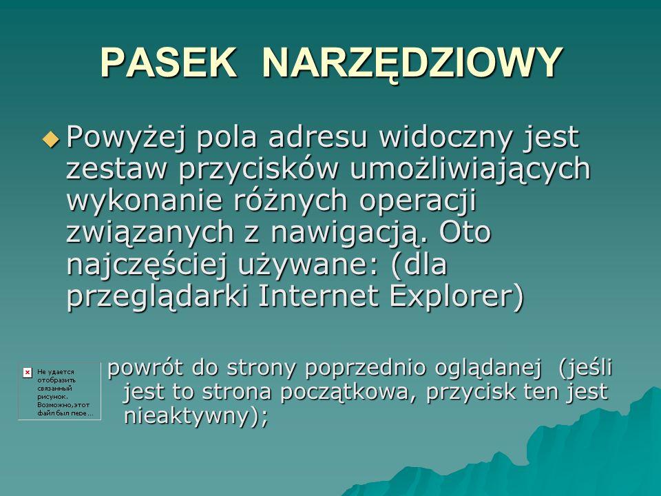 PASEK NARZĘDZIOWY Powyżej pola adresu widoczny jest zestaw przycisków umożliwiających wykonanie różnych operacji związanych z nawigacją. Oto najczęści