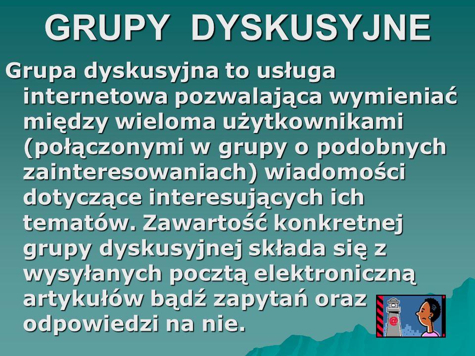 GRUPY DYSKUSYJNE Grupa dyskusyjna to usługa internetowa pozwalająca wymieniać między wieloma użytkownikami (połączonymi w grupy o podobnych zaintereso