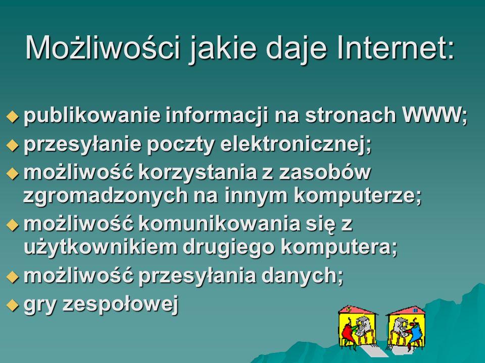 Możliwości jakie daje Internet: Możliwości jakie daje Internet: publikowanie informacji na stronach WWW; publikowanie informacji na stronach WWW; prze