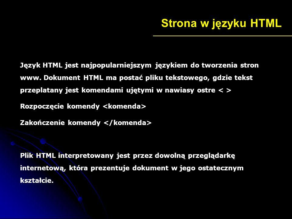 Podstawowa struktura strony Tytuł tworzonej przez nas strony Treść jaką chcemy zamieścić na naszej stronie np.