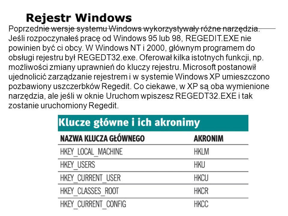 Rejestr Windows Poprzednie wersje systemu Windows wykorzystywały różne narzędzia. Jeśli rozpoczynałeś pracę od Windows 95 lub 98, REGEDIT.EXE nie powi