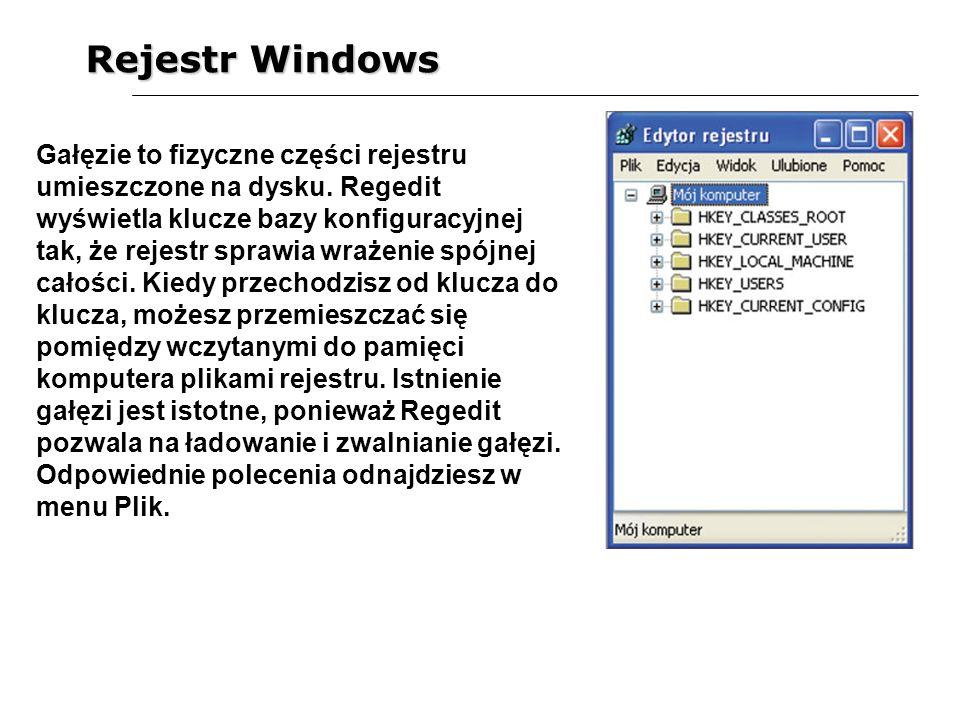Rejestr Windows Gałęzie to fizyczne części rejestru umieszczone na dysku. Regedit wyświetla klucze bazy konfiguracyjnej tak, że rejestr sprawia wrażen