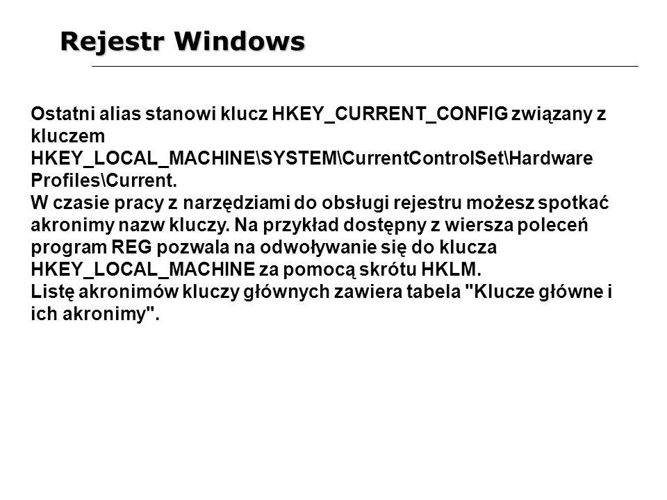Rejestr Windows Ostatni alias stanowi klucz HKEY_CURRENT_CONFIG związany z kluczem HKEY_LOCAL_MACHINE\SYSTEM\CurrentControlSet\Hardware Profiles\Curre