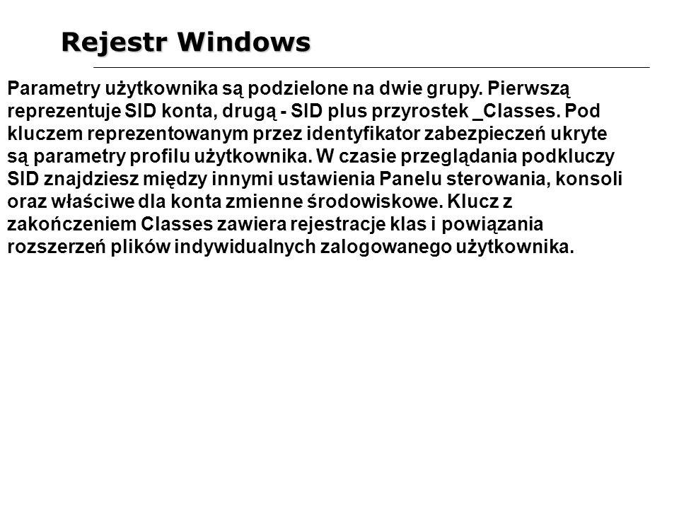 Rejestr Windows Parametry użytkownika są podzielone na dwie grupy. Pierwszą reprezentuje SID konta, drugą - SID plus przyrostek _Classes. Pod kluczem