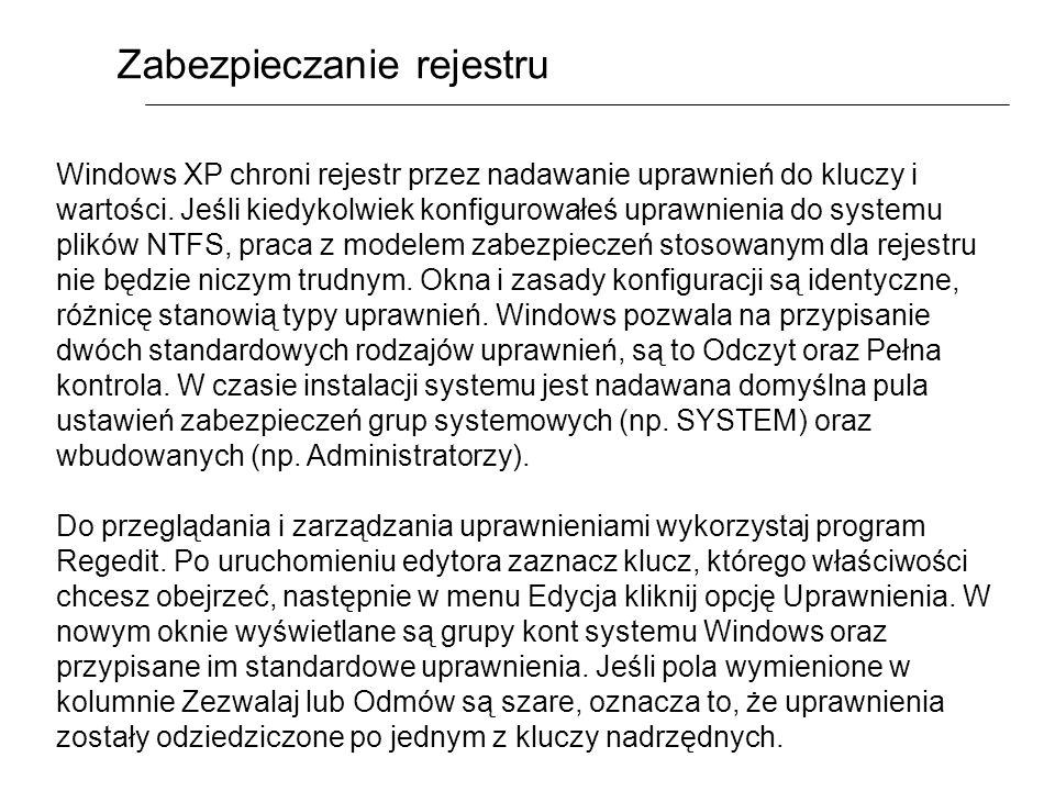 Zabezpieczanie rejestru Windows XP chroni rejestr przez nadawanie uprawnień do kluczy i wartości. Jeśli kiedykolwiek konfigurowałeś uprawnienia do sys