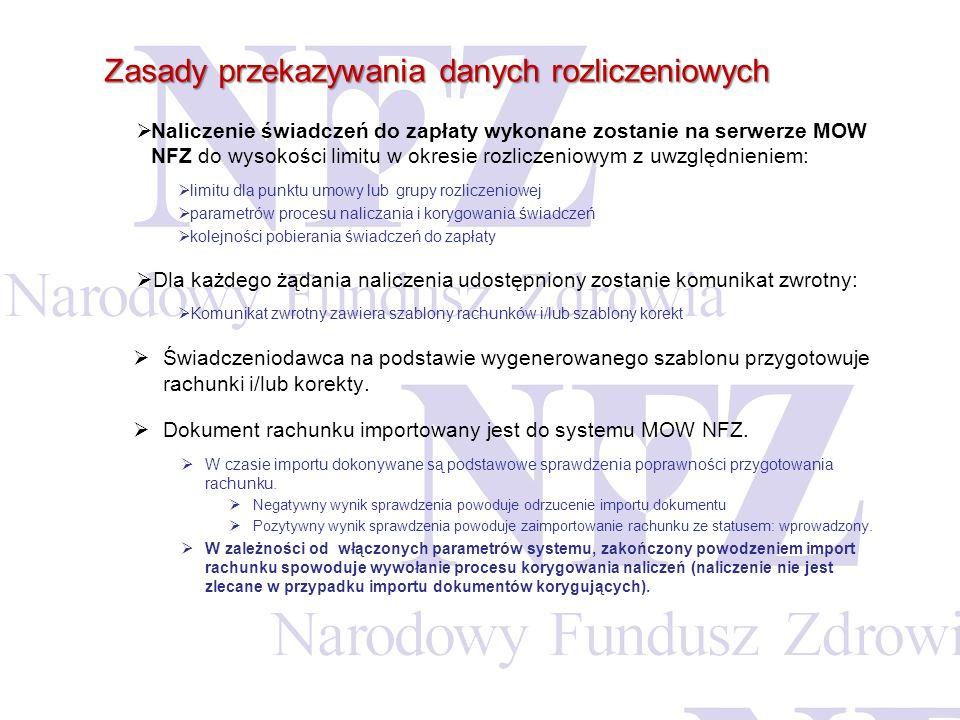 Zasady przekazywania danych rozliczeniowych Naliczenie świadczeń do zapłaty wykonane zostanie na serwerze MOW NFZ do wysokości limitu w okresie rozlic
