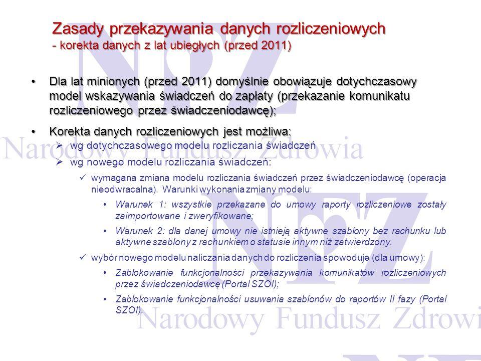 Zasady przekazywania danych rozliczeniowych - korekta danych z lat ubiegłych (przed 2011) Dla lat minionych (przed 2011) domyślnie obowiązuje dotychcz