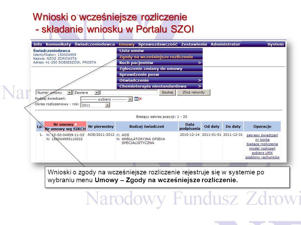 Wnioski o wcześniejsze rozliczenie - składanie wniosku w Portalu SZOI - składanie wniosku w Portalu SZOI Wnioski o zgody na wcześniejsze rozliczenie r