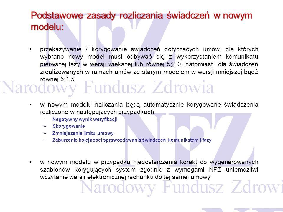 Zasady przekazywania danych rozliczeniowych - korekta danych z lat ubiegłych (przed 2011) Dla lat minionych (przed 2011) domyślnie obowiązuje dotychczasowy model wskazywania świadczeń do zapłaty (przekazanie komunikatu rozliczeniowego przez świadczeniodawcę);Dla lat minionych (przed 2011) domyślnie obowiązuje dotychczasowy model wskazywania świadczeń do zapłaty (przekazanie komunikatu rozliczeniowego przez świadczeniodawcę); Korekta danych rozliczeniowych jest możliwa:Korekta danych rozliczeniowych jest możliwa: wg dotychczasowego modelu rozliczania świadczeń wg nowego modelu rozliczania świadczeń: wymagana zmiana modelu rozliczania świadczeń przez świadczeniodawcę (operacja nieodwracalna).