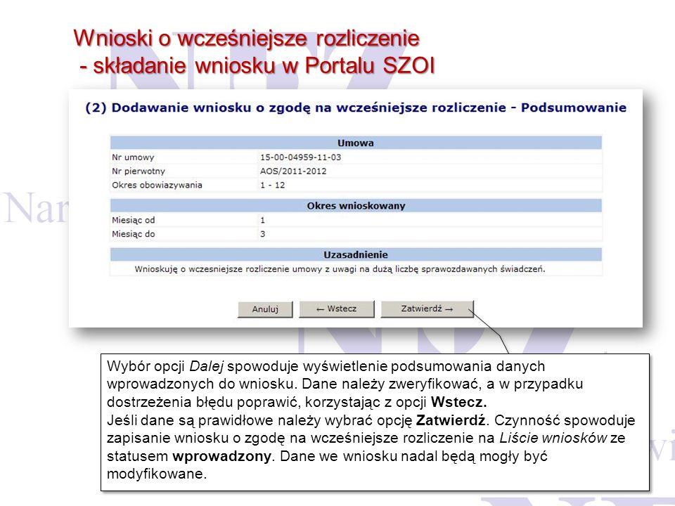 Wnioski o wcześniejsze rozliczenie - składanie wniosku w Portalu SZOI - składanie wniosku w Portalu SZOI Wybór opcji Dalej spowoduje wyświetlenie pods