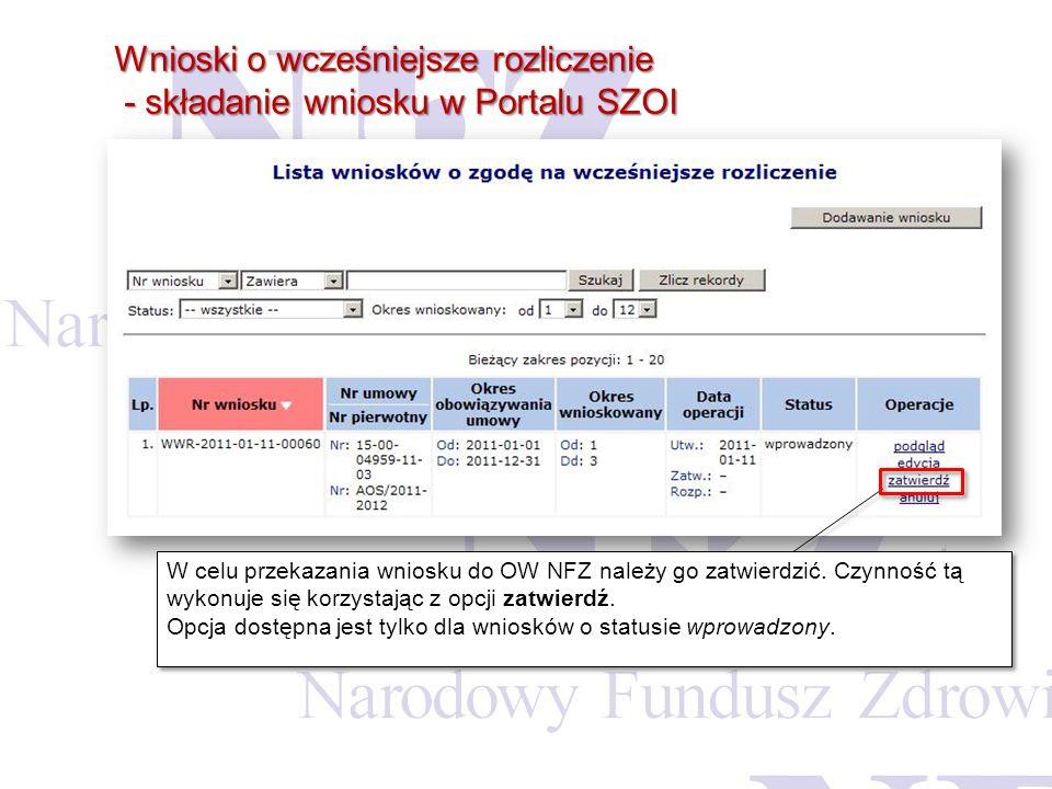 Wnioski o wcześniejsze rozliczenie - składanie wniosku w Portalu SZOI - składanie wniosku w Portalu SZOI W celu przekazania wniosku do OW NFZ należy g