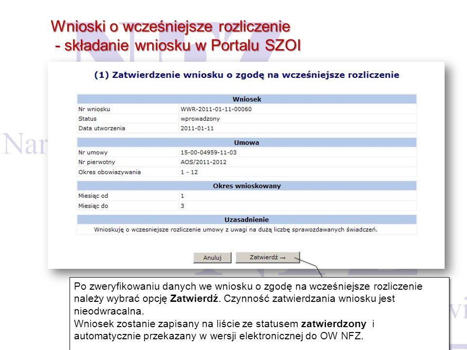 Wnioski o wcześniejsze rozliczenie - składanie wniosku w Portalu SZOI - składanie wniosku w Portalu SZOI Po zweryfikowaniu danych we wniosku o zgodę n