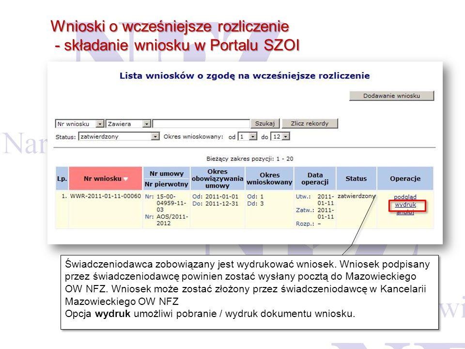 Wnioski o wcześniejsze rozliczenie - składanie wniosku w Portalu SZOI - składanie wniosku w Portalu SZOI Świadczeniodawca zobowiązany jest wydrukować