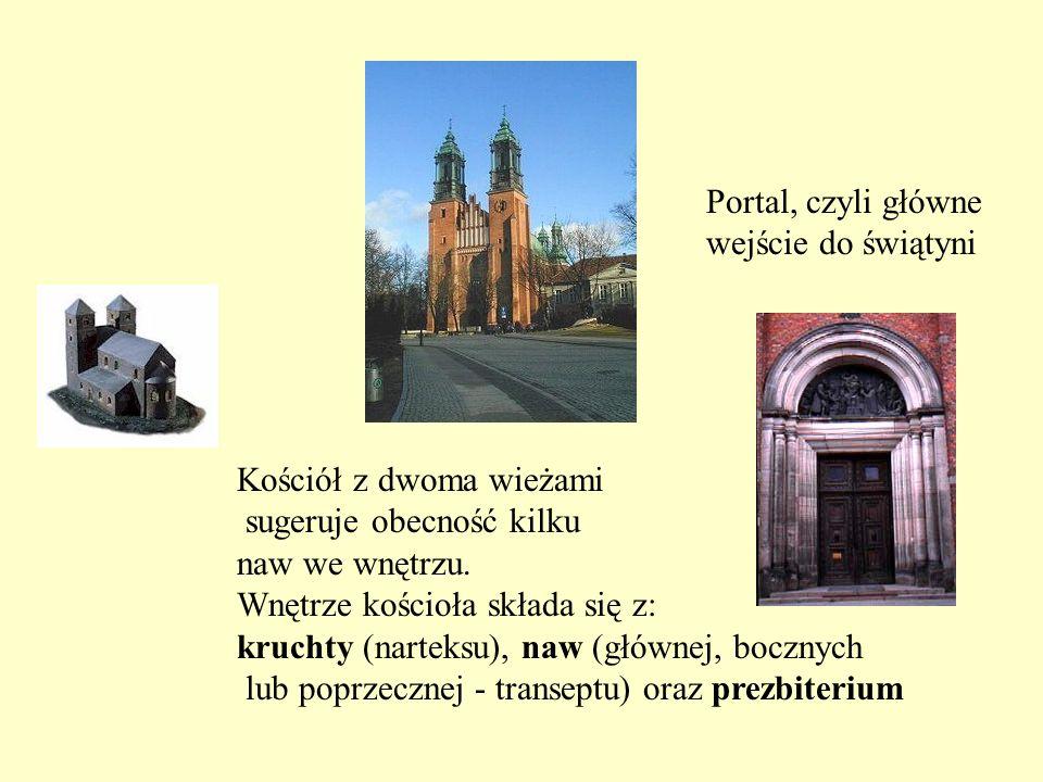 Kościół z dwoma wieżami sugeruje obecność kilku naw we wnętrzu. Wnętrze kościoła składa się z: kruchty (narteksu), naw (głównej, bocznych lub poprzecz
