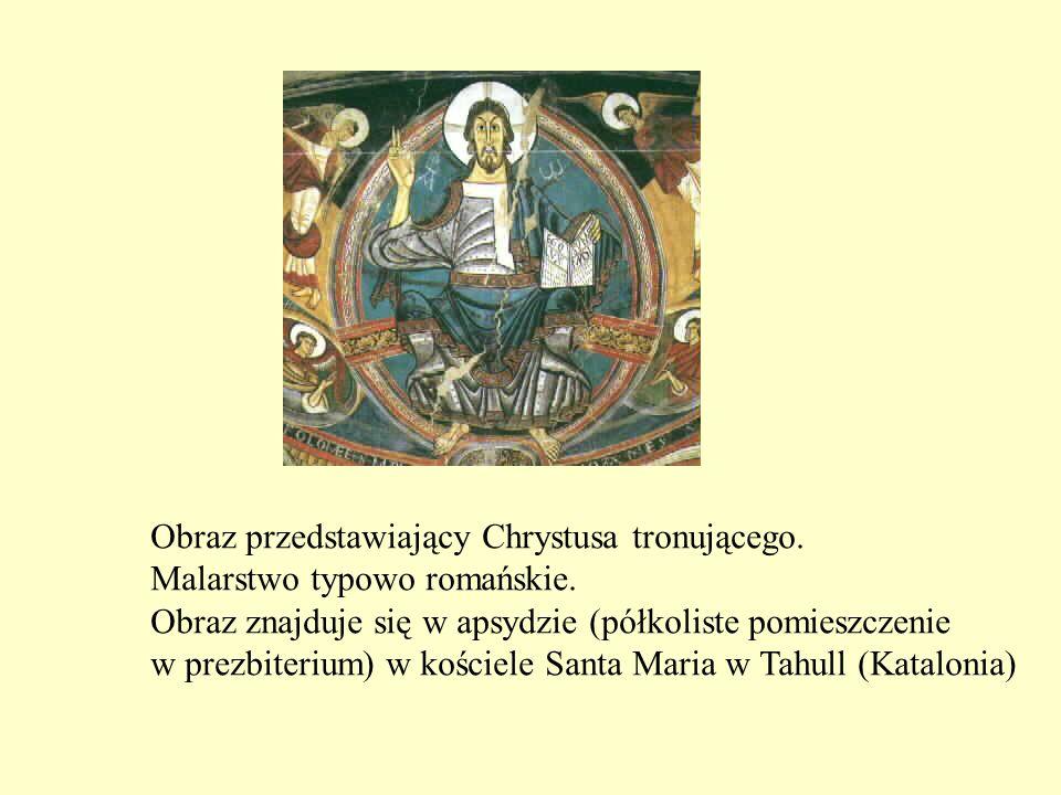 Obraz przedstawiający Chrystusa tronującego. Malarstwo typowo romańskie. Obraz znajduje się w apsydzie (półkoliste pomieszczenie w prezbiterium) w koś