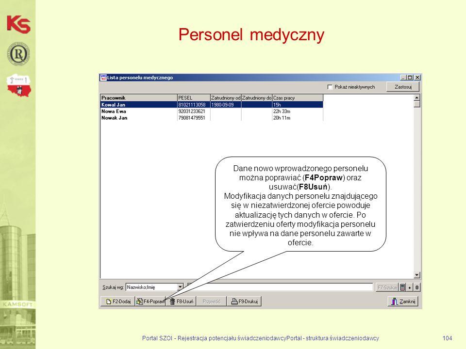 Portal SZOI - Rejestracja potencjału świadczeniodawcyPortal - struktura świadczeniodawcy104 Personel medyczny Dane nowo wprowadzonego personelu można poprawiać (F4Popraw) oraz usuwać(F8Usuń).