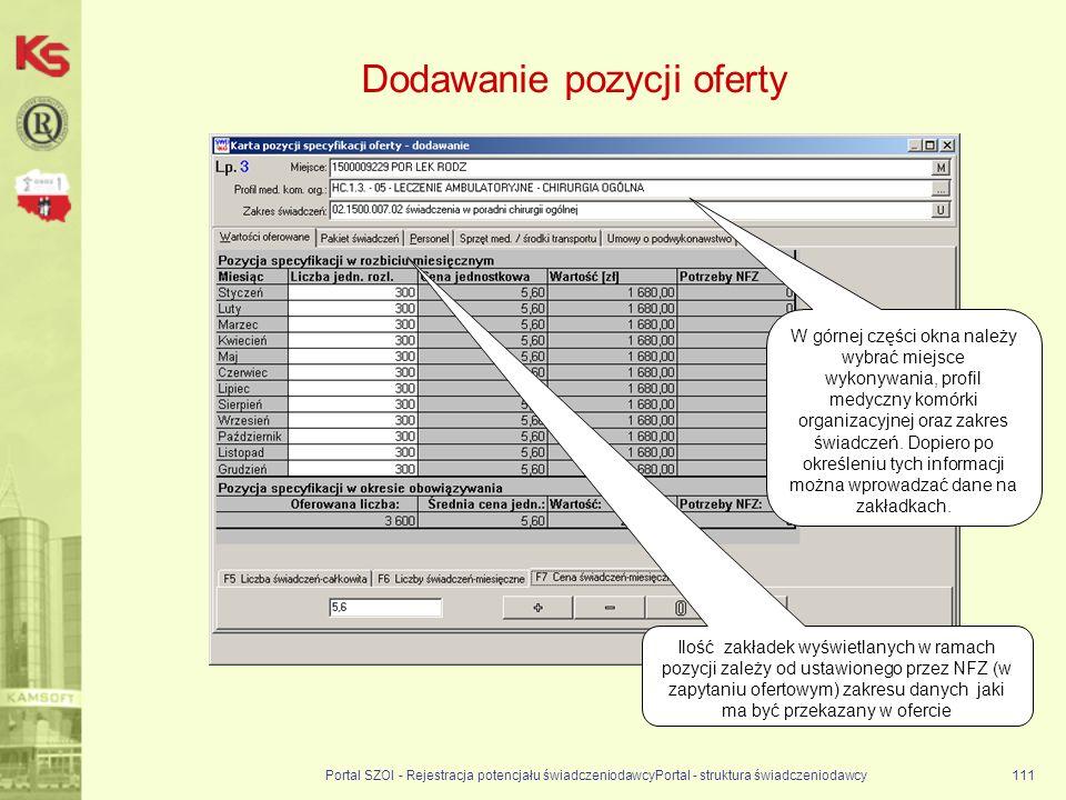 Dodawanie pozycji oferty Portal SZOI - Rejestracja potencjału świadczeniodawcyPortal - struktura świadczeniodawcy111 Ilość zakładek wyświetlanych w ramach pozycji zależy od ustawionego przez NFZ (w zapytaniu ofertowym) zakresu danych jaki ma być przekazany w ofercie W górnej części okna należy wybrać miejsce wykonywania, profil medyczny komórki organizacyjnej oraz zakres świadczeń.