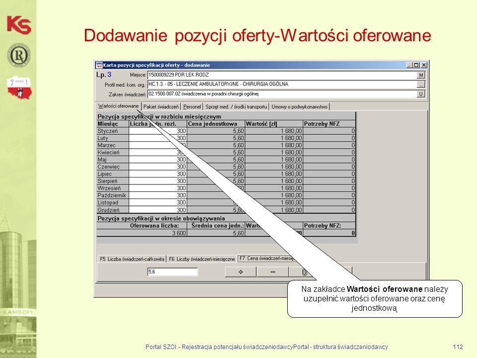 Dodawanie pozycji oferty-Wartości oferowane Portal SZOI - Rejestracja potencjału świadczeniodawcyPortal - struktura świadczeniodawcy112 Na zakładce Wartości oferowane należy uzupełnić wartości oferowane oraz cenę jednostkową