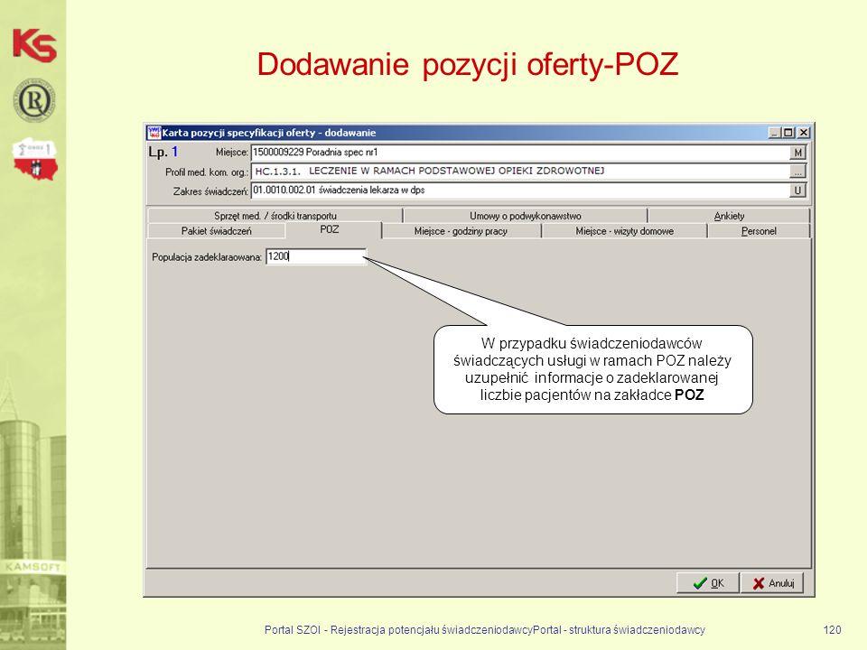Portal SZOI - Rejestracja potencjału świadczeniodawcyPortal - struktura świadczeniodawcy120 Dodawanie pozycji oferty-POZ W przypadku świadczeniodawców świadczących usługi w ramach POZ należy uzupełnić informacje o zadeklarowanej liczbie pacjentów na zakładce POZ