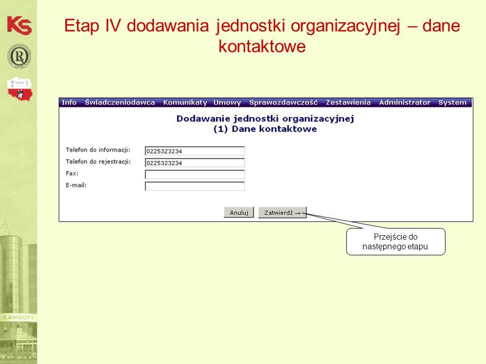 Etap IV dodawania jednostki organizacyjnej – dane kontaktowe Przejście do następnego etapu