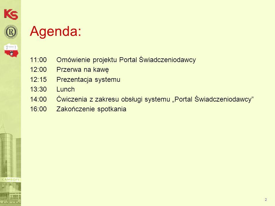 2 Agenda: 11:00 Omówienie projektu Portal Świadczeniodawcy 12:00 Przerwa na kawę 12:15 Prezentacja systemu 13:30 Lunch 14:00 Ćwiczenia z zakresu obsługi systemu Portal Świadczeniodawcy 16:00 Zakończenie spotkania